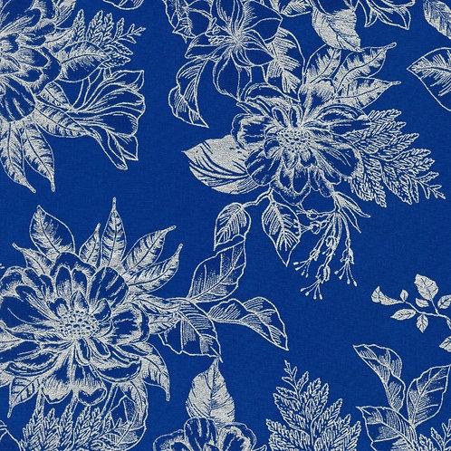 Holiday Flourish 14 Toile Navy with metallic Fabric