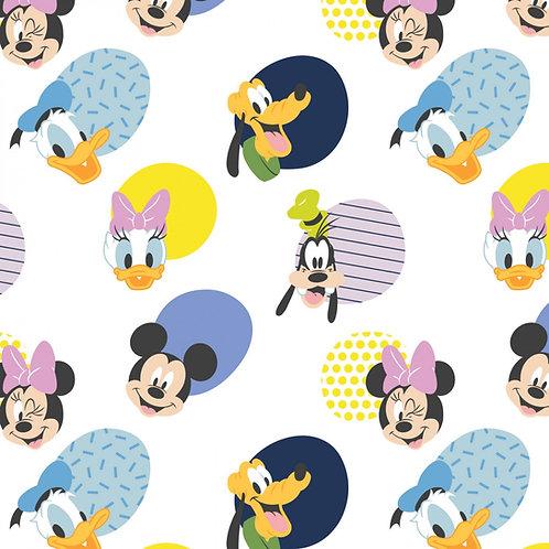 Disney Mickey Mouse Hello Memphis Fabric - White