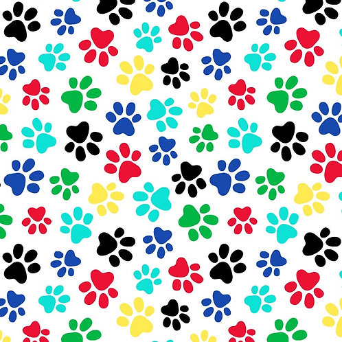 "Windham 108"" Multi White Paw Prints Fabric"