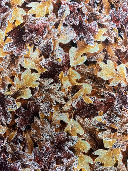 Hoffman Frosted Fall Leaves Brown Fabric