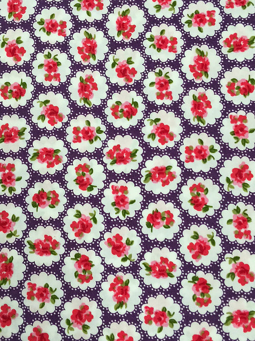 Purple Flower Poplin