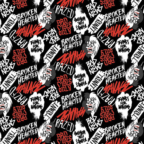 Disney Cruella De Vil Rebel Riot Fabric - Black