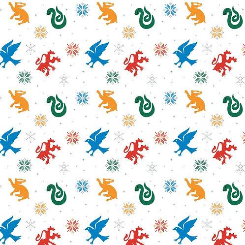 Harry Potter White Snowflake Houses Christmas Fabric