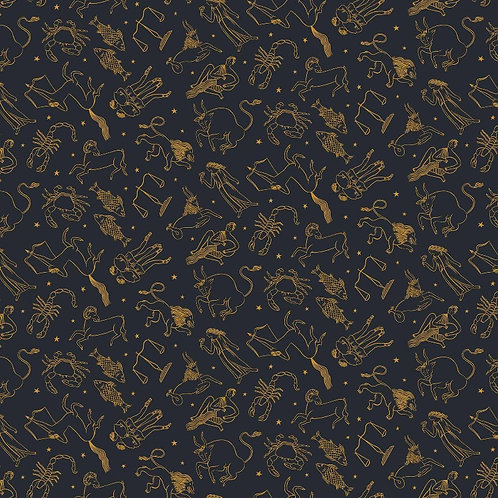 Figo Fabrics Celestial Zodiac Fabric with Metallic