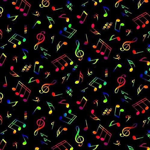 Black Multi Musical Notes Fabric