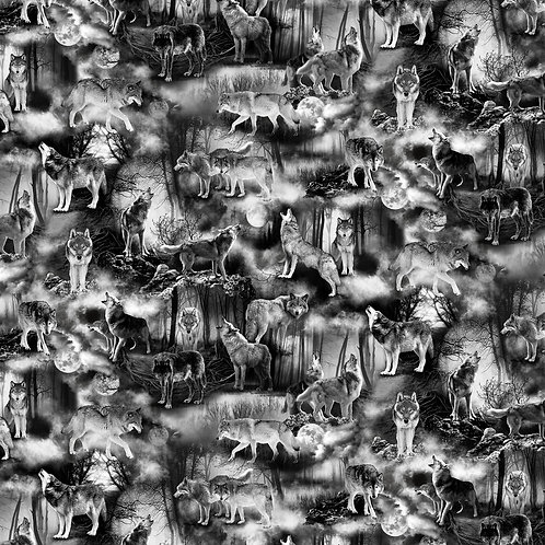 Wicked Fog Wolves fabric