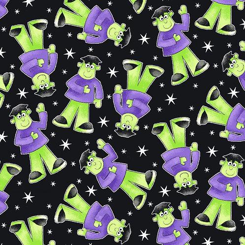 Here We Glow Black Tossed Frankenstein Glow In The Dark Fabric