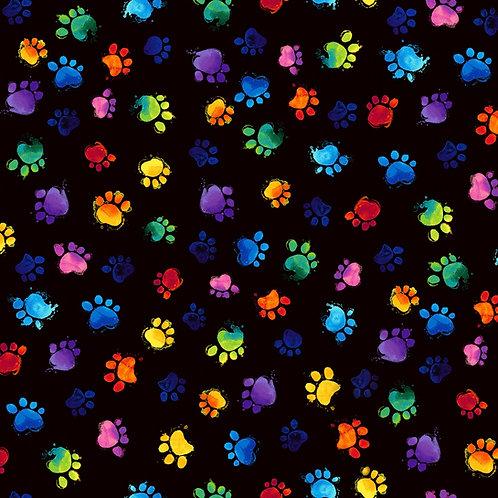 Meow-Za Black Paws Cat Fabric