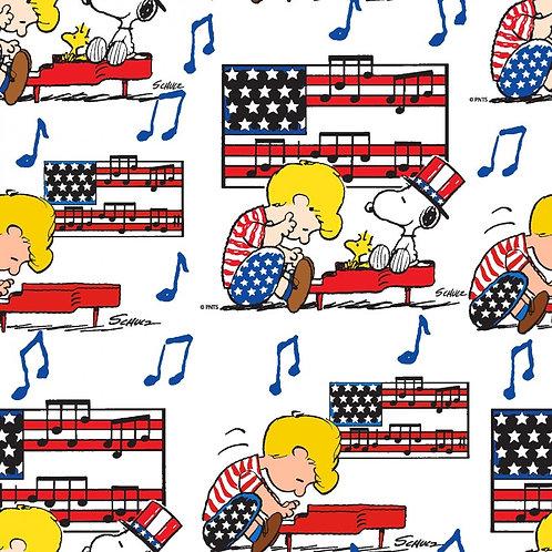 Peanuts Snoopy Linus Patriotic Fabric