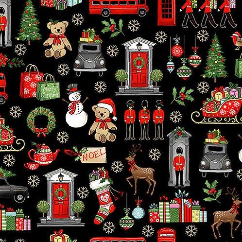 Black London Christmas Icons Fabric Makower 2370-X
