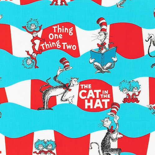 Dr. Seuss The Cat in the Hat Aqua Fabric