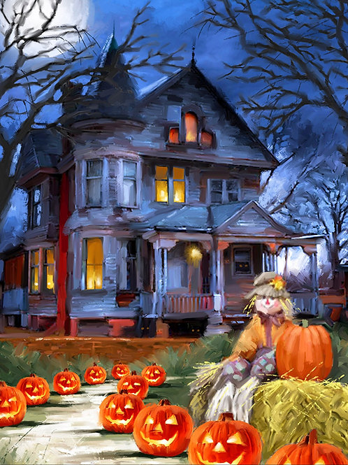 Spooky Haunted House with Pumpkins Fabric Panel
