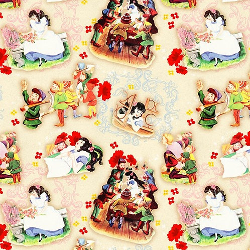 Vintage Storybook Snow White Mirror Mirror Fabric