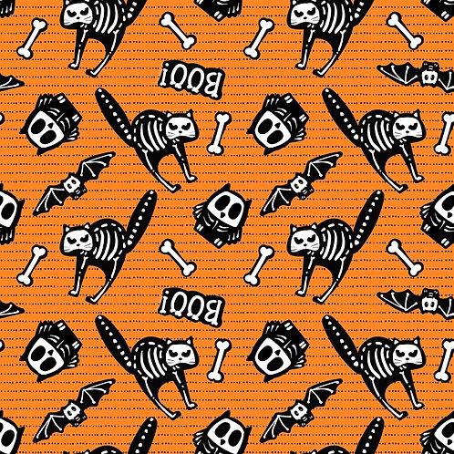 Glow Ghosts Orange Tossed Bones Glow In The Dark Fabric