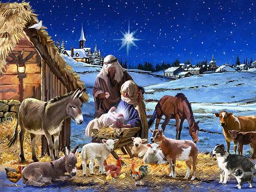 Christmas Winter Nativity Scene Fabric Panel