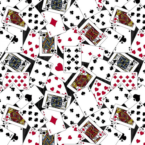 Black Playing Cards Fabric