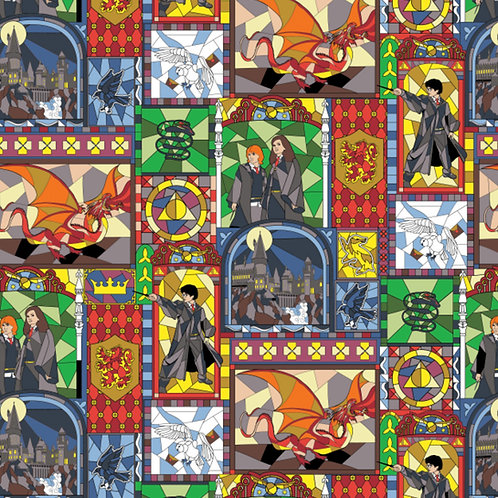 Harry Potter Stained Glass Window Fabric