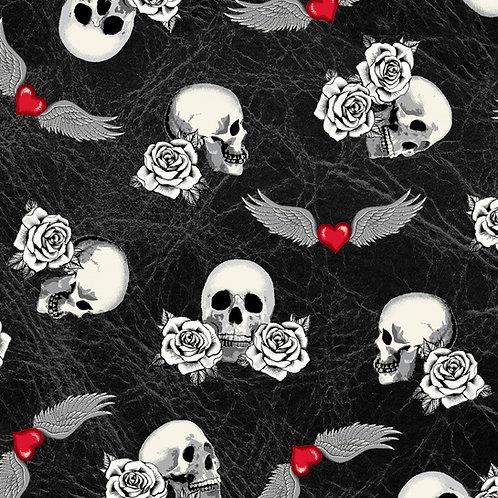 Born To Ride Black Skulls Fabric
