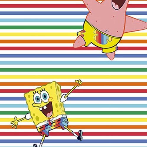 Sponge Bob Rainbow Stripe Fabric
