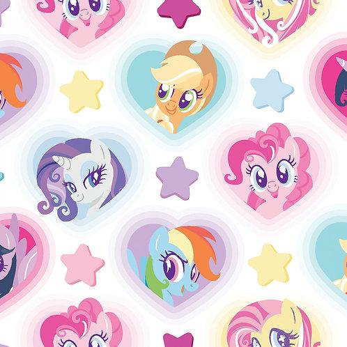 Big Pink My Little Pony Hearts Fabric