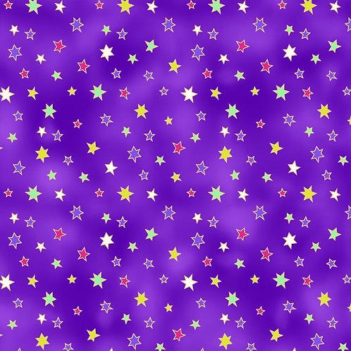 Laurel Burch Celestial Magic Dark Eggplant Stars Fabric