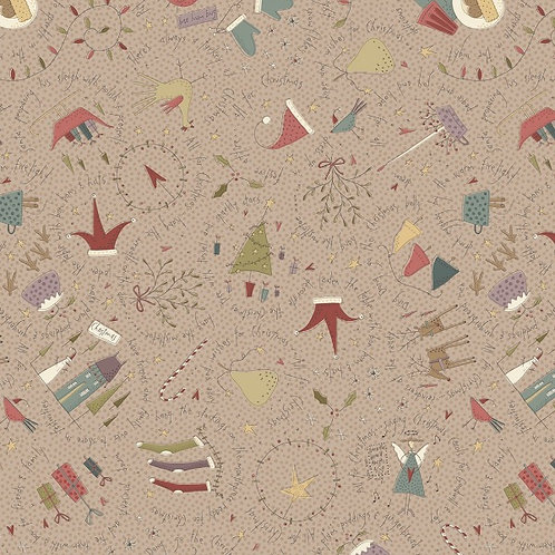 Anni Downs All For Christmas Taupe Allover Fabric