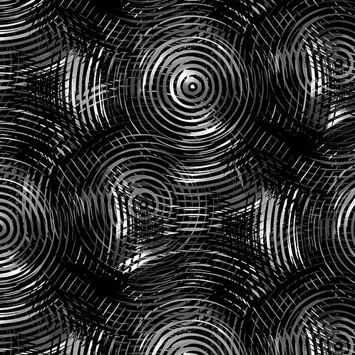 "Henry Glass 108"" Circle Play Black Tonal Grey Ombre Fabric"