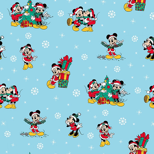 Disney Mickey Mouse Christmas Day Snow Fabric