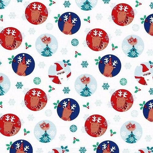 Santa and Reindeer Character Circles