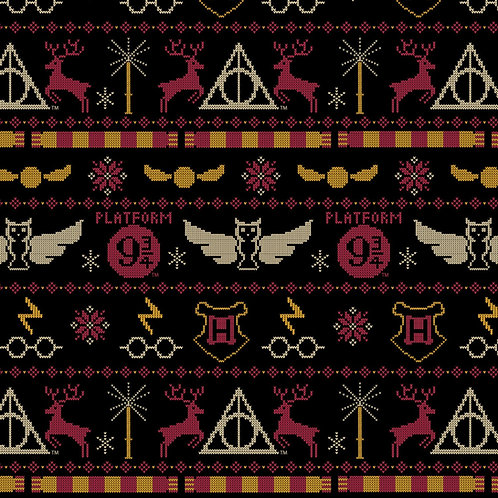 Harry Potter Christmas Sweater Fabric - Black