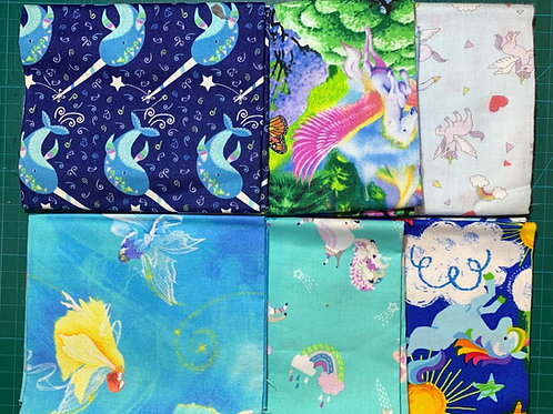 Unicorn Fat Quarter Bundle x 6 UNI3