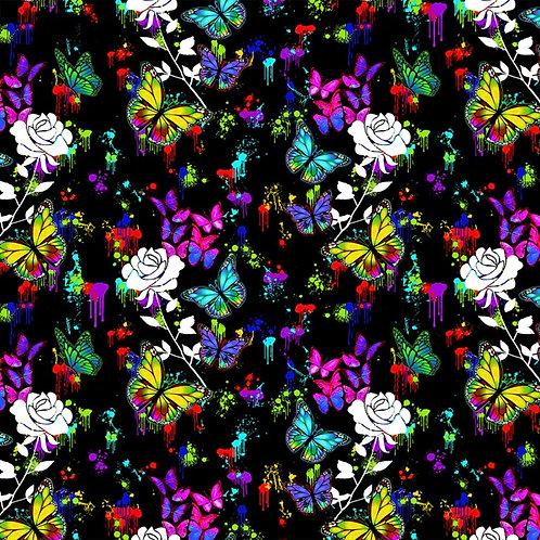 Butterflies in Flight Butterflies and Roses Fabric