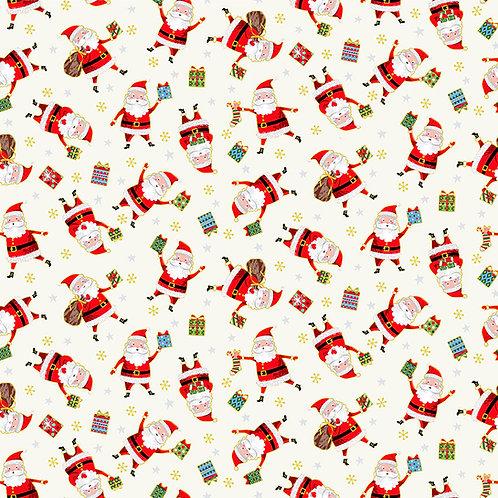 Cream Santa Santas Express Fabric Makower 2380-Q