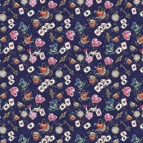 Wonderland Dark Blue Fabric