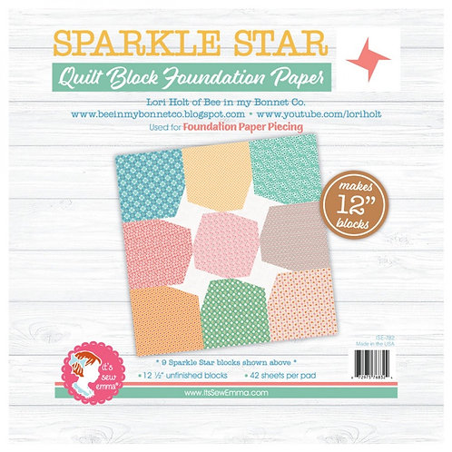 Sparkle Star Quilt Block 12in Foundation Paper Pad