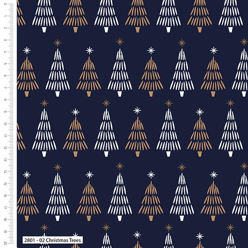Craft Cotton Metallic Trees Navy Christmas Fabric
