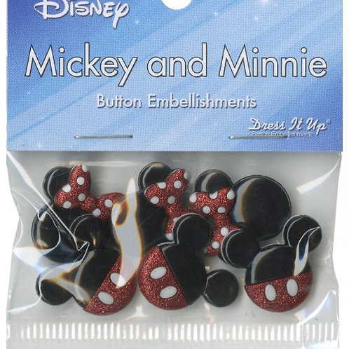 Mickey and Minnie Glitter Buttons