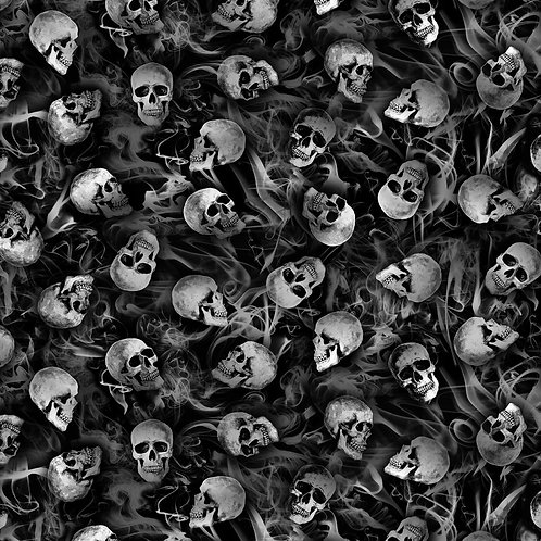 Black Wicked Tossed Skulls Fabric