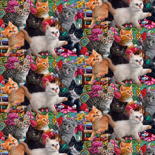 Madame Victoria's Elegant Cats - Packed Kittens Fabric