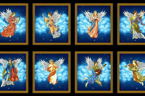 Midnight Silent Night Angel Blocks Panel - Metallic