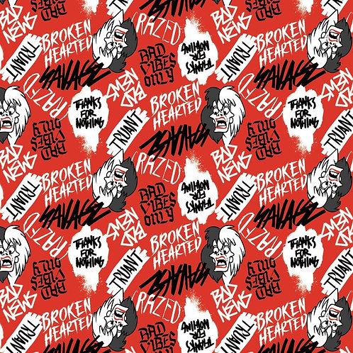 Disney Cruella De Vil Rebel Riot Fabric - Red