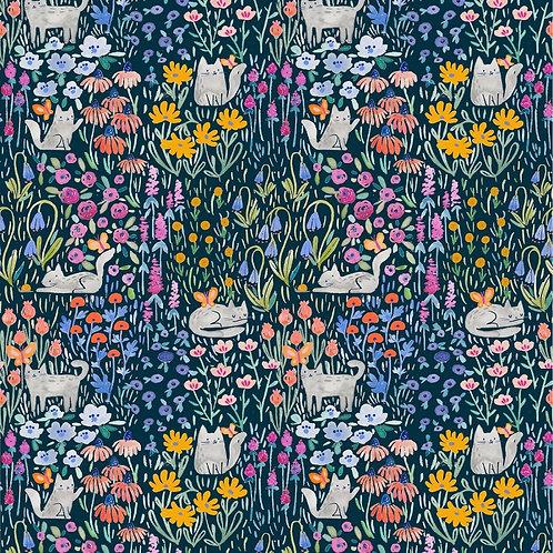 Multi Kitty Garden Cat Fabric