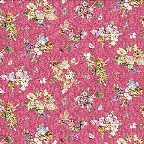 Songs of the Flower Fairies Dancing Fairies Fabric - Fuchsia