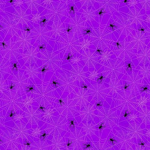 Frightful Night Purple Halloween Spider Webs Fabric