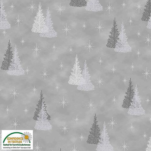 Stof Magic Christmas Fabric - Silver Trees Grey Metallic