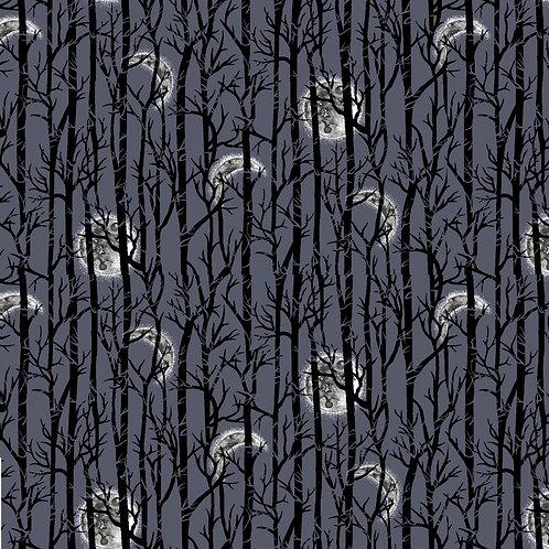 Spooky Night Midnight Moonlight Trees Fabric
