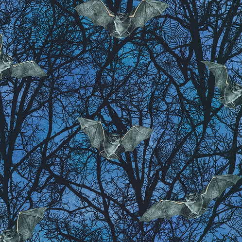 Spooky Raven Moon Bats and Trees Fabric