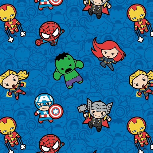 Blue Marvel Kawaii Action Packed Fabric