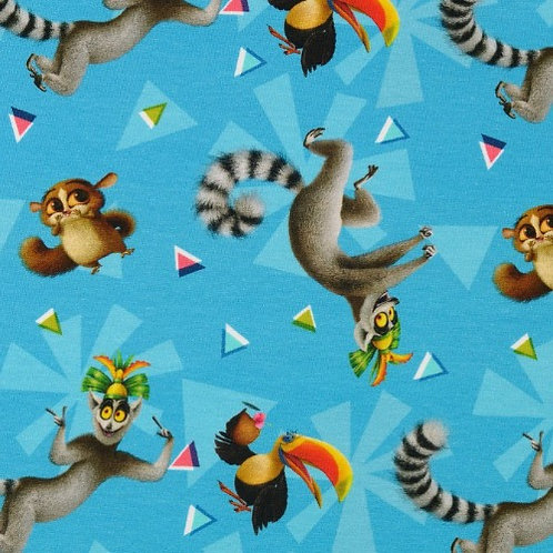 Madagascar Characters Jersey Fabric