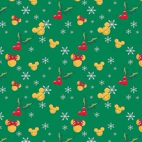 Disney Mickey Mouse Jingle Bell Mice Christmas Fabric